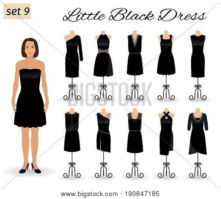 Fashion woman in little black dress. Set of cocktail dresses on a mannequins. Flat vector illustration.