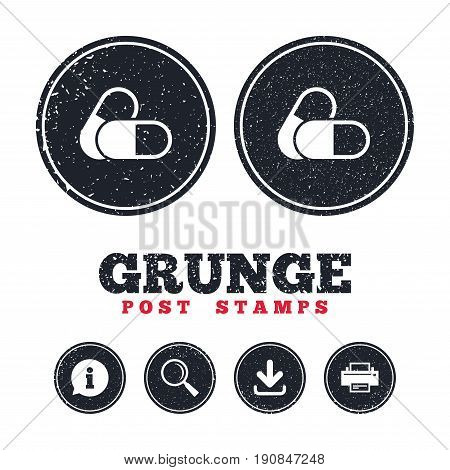 Grunge post stamps. Medical pills sign icon. Pharmacy medicine drugs symbol. Information, download and printer signs. Aged texture web buttons. Vector