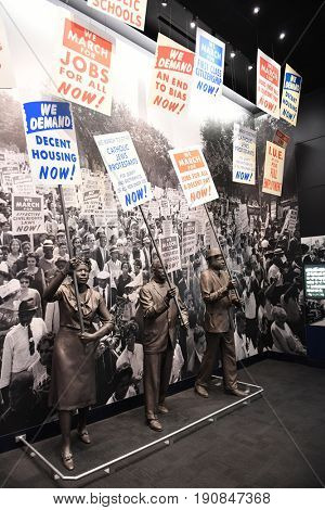 Memphis, TN, USA - June 9, 2017: Protesters as part of exhibit at the National Civil Rights Museum and site of the Assassination of Dr. Martin Luther King Jr.