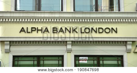 LONDON - AUGUST 6: An Alpha Bank London logo is shown here on August 6 2015. Alpha Bank London is part of Alpha Bank the fourth largest Greek bank.