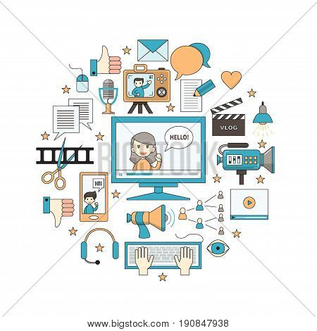 Videoblogging. Vector illustration for social media and modern communications. Concept for digital online blog, video marketing, blogger's work. Thin line design. Isolated on white.