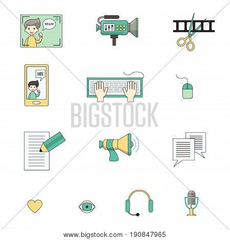 Modern set of vector icons for video blog and digital online media. Vlog and social media infographic elements. For web design, mobile app and e-learning advertising. Thin line with colors. Isolated on white.