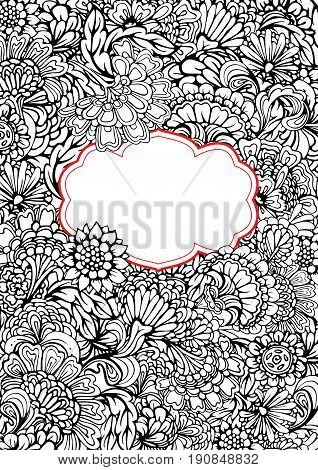 Black and white Abstract decorative pattern with hand drawn floral elements on background and frame. Element for Birthday Valentines day card wedding invitation love design. Image for coloring book.