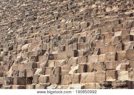 Close view of blocks of the Great Pyramids in Giza, Cairo, Egypt