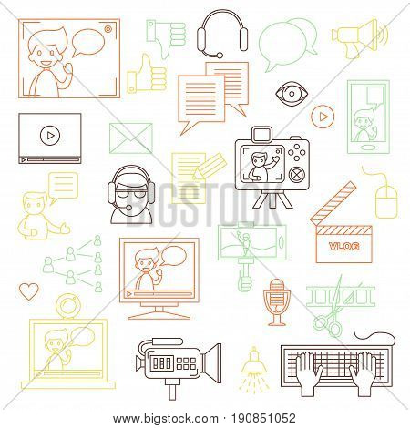 Modern set of vector icons for video blog and digital online media. Vlog and social media infographic elements. For web design, mobile app and e-learning advertising. Thin line design. Isolated on white.