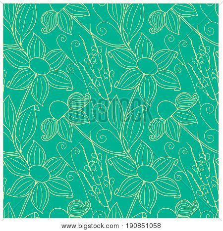Seamless floral yellow pattern on blue stock vector illustration