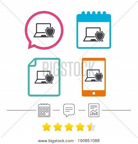 Laptop protection sign icon. Notebook with shield symbol. Calendar, chat speech bubble and report linear icons. Star vote ranking. Vector