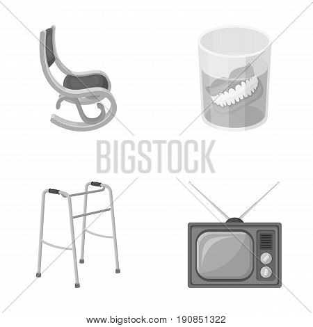 Denture, rocking chair, walker, old TV.Old age set collection icons in monochrome style vector symbol stock illustration .