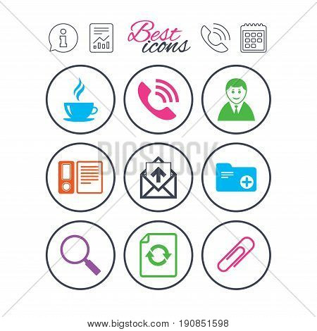 Information, report and calendar signs. Office, documents and business icons. Coffee, phone call and businessman signs. Safety pin, magnifier and mail symbols. Phone call symbol. Vector
