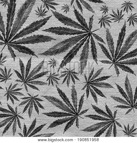 Gray cannabis sativa leaf painted in watercolor. Realistic scientific illustration of plant. Hand drawn marijuana illustration on burlap fabric texture. Design element