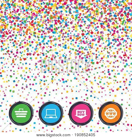 Web buttons on background of confetti. Online shopping icons. Notebook pc, shopping cart, buy now arrow and internet signs. WWW globe symbol. Bright stylish design. Vector