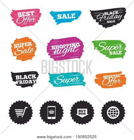 Ink brush sale banners and stripes. Online shopping icons. Smartphone, shopping cart, buy now arrow and internet signs. WWW globe symbol. Special offer. Ink stroke. Vector