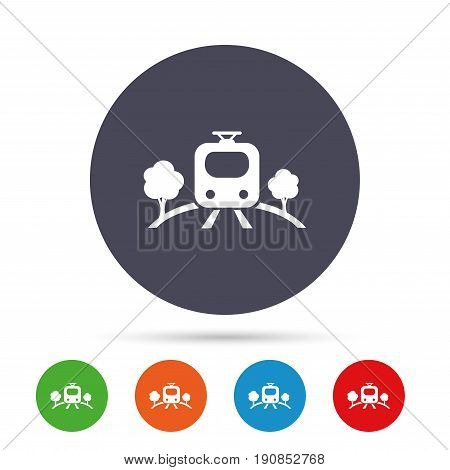 Overground subway sign icon. Metro train symbol. Round colourful buttons with flat icons. Vector