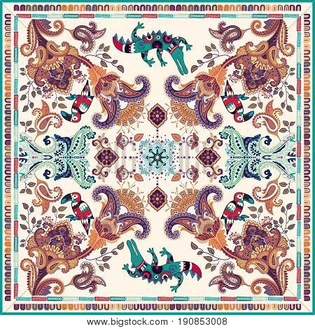 Design for shawl, card, textile. Colorful illustration with decorative birds and Paisley. Indian motive.