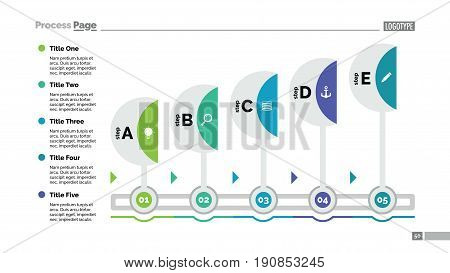 Five step process chart. Business data. Workflow, diagram, design. Creative concept for infographic, templates, presentation, report. Can be used for topics like marketing, management, banking.