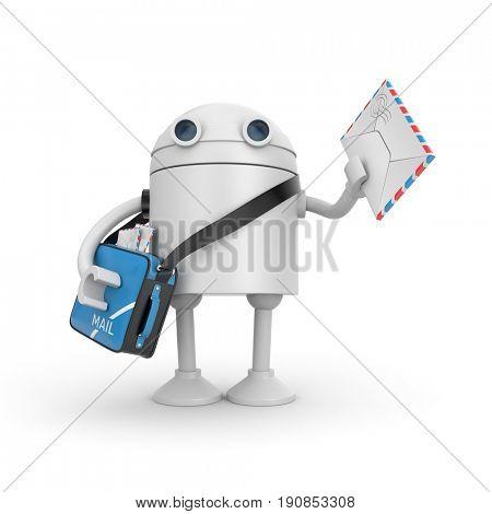 Robot postman brought a letter. 3d illustration