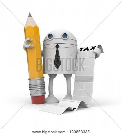 The robot businessman and taxation list. 3d illustration