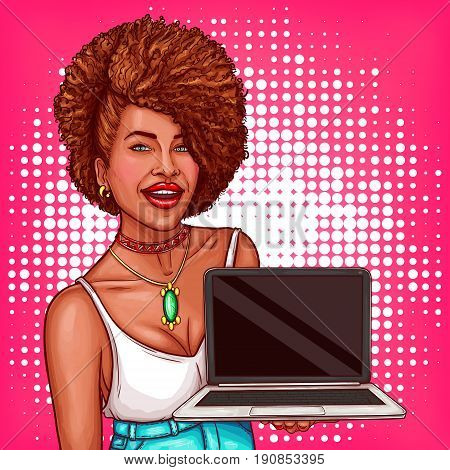Vector pop art illustration of a black woman holds an open laptop in her hands. Pop art advertising poster with a beautiful black woman for promoting a new laptop model