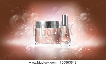 Vector poster in realistic style with transparent glass cosmetic containers for lotion, hand cream and cuticle remover, nail polish on a beige background with Bokeh effect