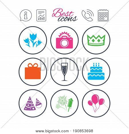 Information, report and calendar signs. Party celebration, birthday icons. Fireworks, air balloon and champagne glass signs. Gift box, flowers and photo camera symbols. Phone call symbol. Vector