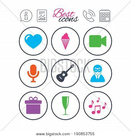Information, report and calendar signs. Party celebration, birthday icons. Carnival, guitar and champagne glass signs. Gift box, ice cream and love symbols. Phone call symbol. Vector