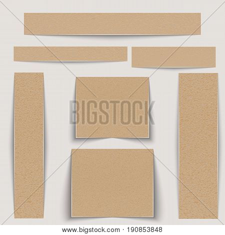 Textured banners set. Texture wrapping paper or paperboard of different sizes. Vector illustration