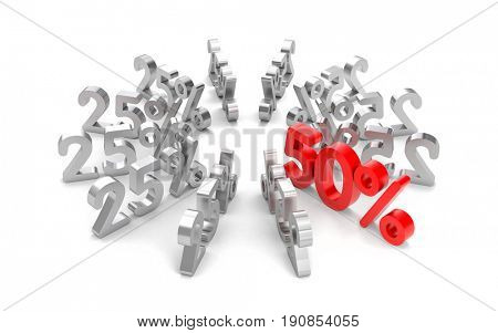 Best offer - metallic text. 3d illustration