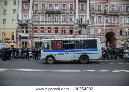 12 June 2017. Russia. Moscow. Tverskaya st. Meeting organized by Alexei Navalny against corruption in  government. Heavy armored police forces holding and prohibit any action of people.