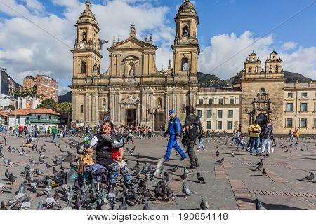 Bogota, Colombia  - February 4, 2017 : Bolivar plaza in La Candelaria aera Bogota capital city of Colombia South America