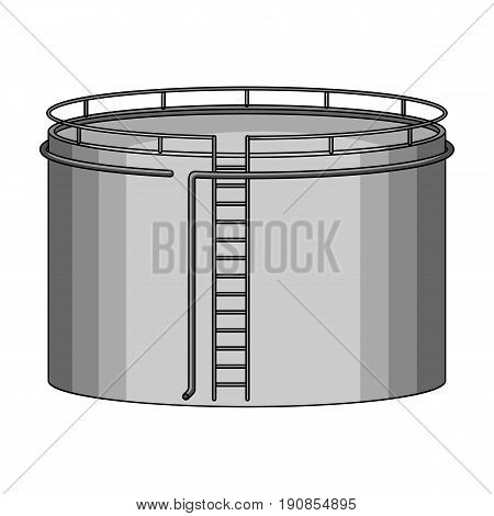 Oil storage tank.Oil single icon in monochrome style vector symbol stock illustration .