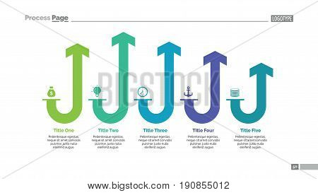 Five rounded arrows process chart slide template. Business data. Stage, diagram, design. Creative concept for infographic, presentation. Can be used for topics like management, strategy, training.