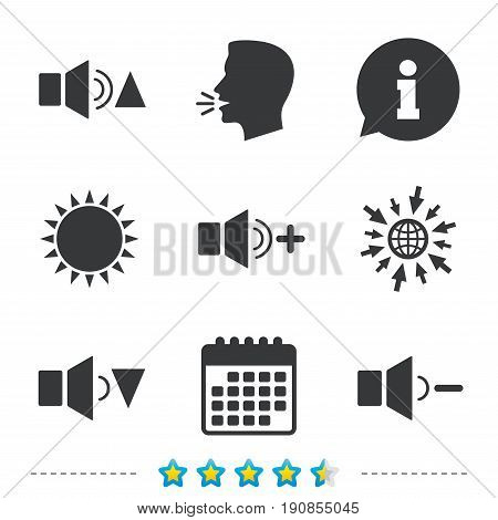 Player control icons. Sound louder and quieter signs. Dynamic symbol. Information, go to web and calendar icons. Sun and loud speak symbol. Vector