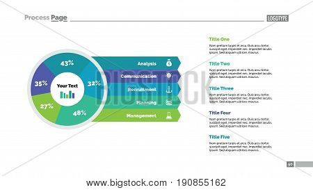 Five sector percentage pie chart slide template. Business data. Share, diagram, design. Creative concept for infographic, presentation, report. Can be used for topics like research, analysis, finance.