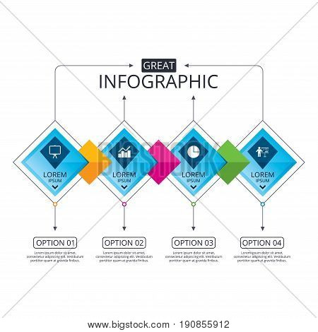 Infographic flowchart template. Business diagram with options. Diagram graph Pie chart icon. Presentation billboard symbol. Man standing with pointer sign. Timeline steps. Vector