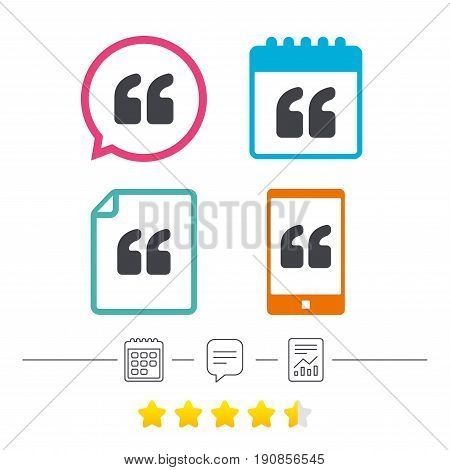 Quote sign icon. Quotation mark symbol. Double quotes at the beginning of words. Calendar, chat speech bubble and report linear icons. Star vote ranking. Vector