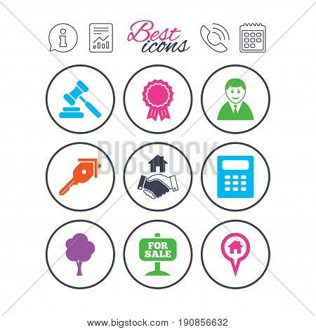 Information, report and calendar signs. Real estate, auction icons. Handshake, for sale and calculator signs. Key, tree and award medal symbols. Phone call symbol. Classic simple flat web icons