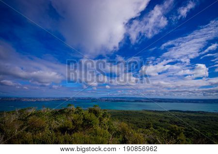 View to Rangitoto Island from North Head in a sunny day with a beautiful blue sky.