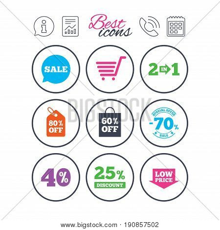 Information, report and calendar signs. Sale discounts icon. Shopping cart, coupon and low price signs. 25, 40 and 60 percent off. Special offer symbols. Phone call symbol. Vector