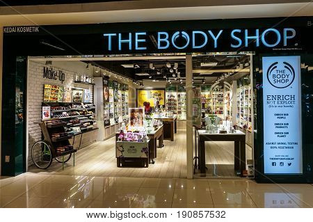 Kota Kinabalu,Sabah-May 27,2017:The Body Shop cosmetic store at IMAGO shopping complex in Kota Kinabalu,Sabah,Borneo,Malaysia.The Body Shop,is a British cosmetics and skin care company owned by L'Oreal.