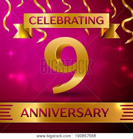 Nine Years Anniversary Celebration Design. Confetti and golden ribbon on pink background. Colorful Vector template elements for your birthday party. Anniversary ribbon
