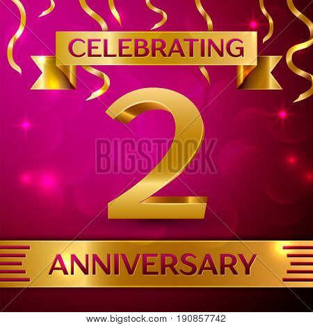 Two Years Anniversary Celebration Design. Confetti and golden ribbon on pink background. Colorful Vector template elements for your birthday party. Anniversary ribbon