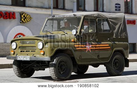 St.Petersburg, Russia - May 2017. Celebration of Victory Day: UAZ, off-road military light utility vehicle