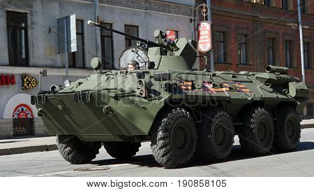 St.Petersburg, Russia - 9 May 2017. Celebration of Victory Day: self-propelled gun, SPG