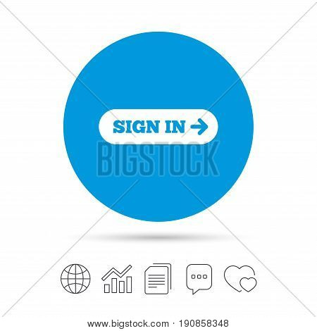Sign in with arrow sign icon. Login symbol. Website navigation. Copy files, chat speech bubble and chart web icons. Vector