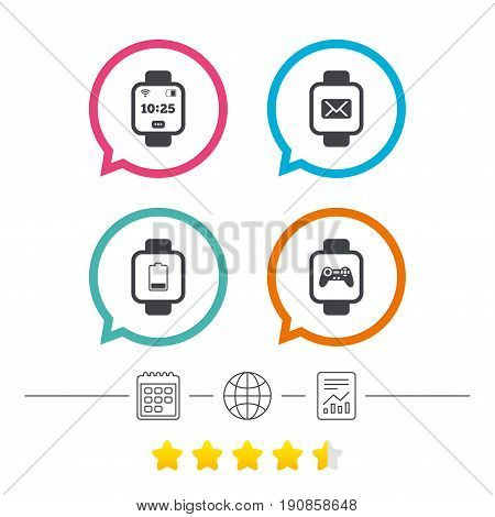 Smart watch icons. Wrist digital time watch symbols. Mail, Game joystick and wi-fi signs. Calendar, internet globe and report linear icons. Star vote ranking. Vector