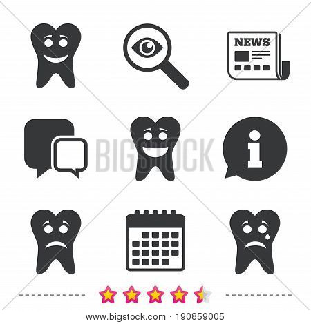Tooth smile face icons. Happy, sad, cry signs. Happy smiley chat symbol. Sadness depression and crying signs. Newspaper, information and calendar icons. Investigate magnifier, chat symbol. Vector