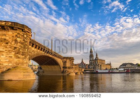 Dresden City Skyline At Elbe River And Dresden Cathedral When Sunset, Dresden, Germany