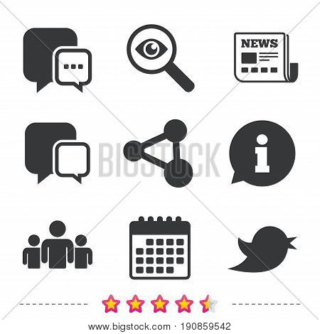 Social media icons. Chat speech bubble and Bird chick symbols. Human group sign. Newspaper, information and calendar icons. Investigate magnifier, chat symbol. Vector