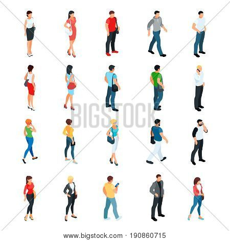 Set of isometric people isolated on white background. 3d men and women view front and back. Modern young people. Vector illustration.