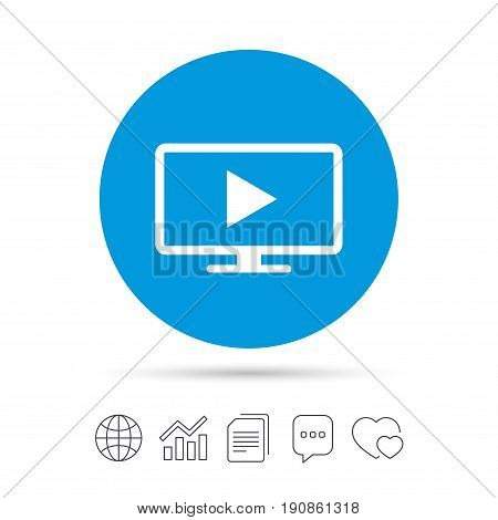 Widescreen TV mode sign icon. Television set symbol. Copy files, chat speech bubble and chart web icons. Vector